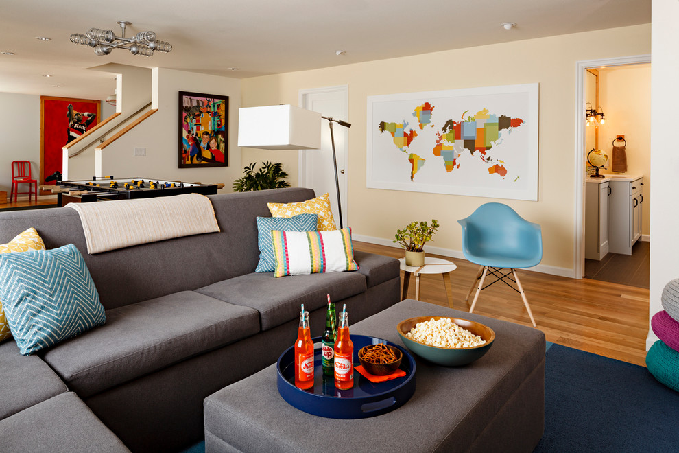 Foosball Table for Sale Basement Contemporary with Basement Family Room Basement Remodel Blue and Yellow Blue Chair Chevron Colorful