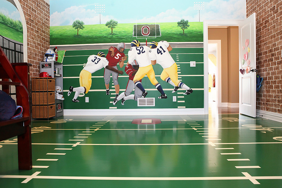 Football Field Rug Kids Contemporary with Baseboard Basket Storage Boy Brick Walls Football Green High Gloss Mural Painted