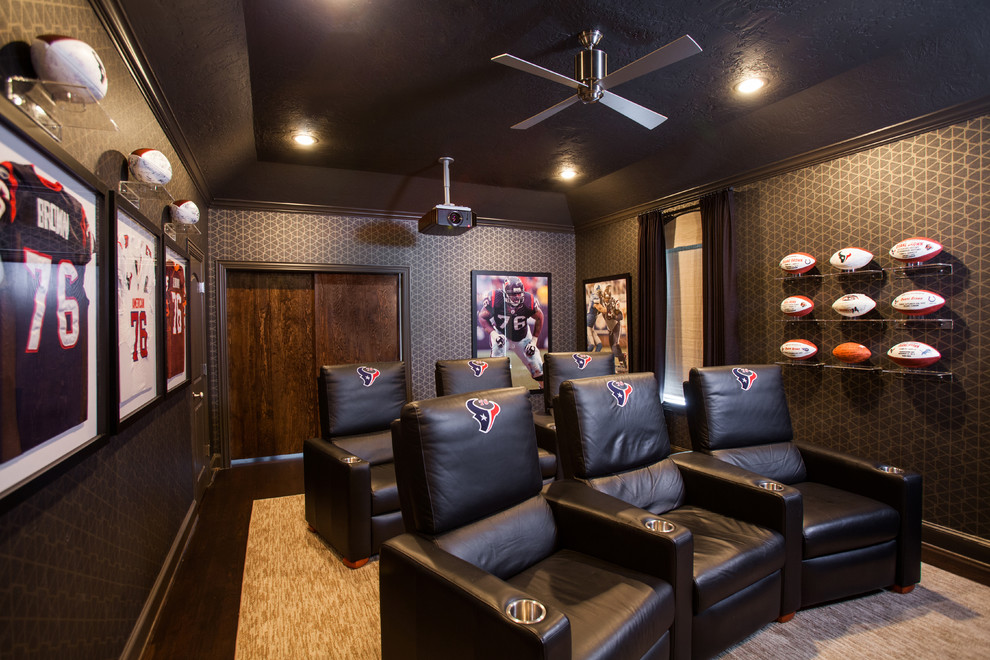 Football Rug Home Theater Contemporary with Black Ceiling Ceiling Fan Football Leather Chairs Recessed Lighting Wallpaper Wood Floor
