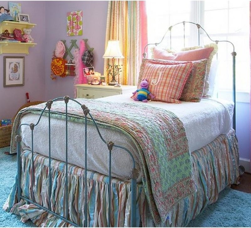 Football Rug Kids Eclectic with Iron Bed Reproduction Romantic Iron Bed with Castings Vintage Twin Wrought Iron