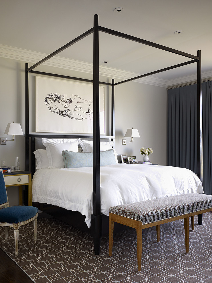 Four Poster Beds Bedroom Contemporary with Artwork Bedroom Bench Black Four Poster Bed Brown Area Rug Curtains Dark