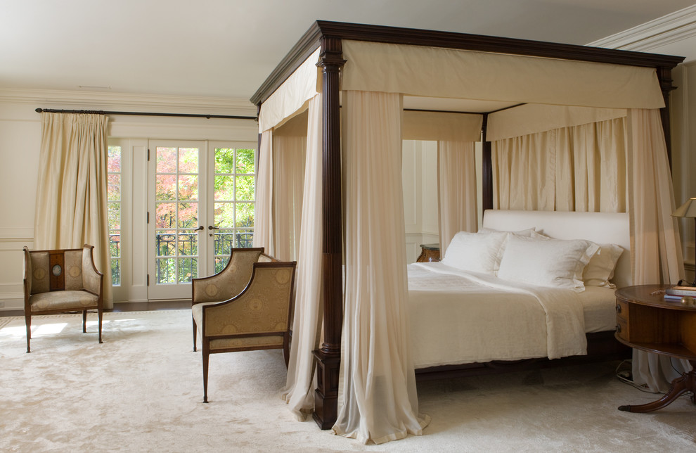 Four Poster Beds Bedroom Traditional with Antique Settee Bed Drapery Beige Bed Curtains Beige Bedding Beige Chair Beige