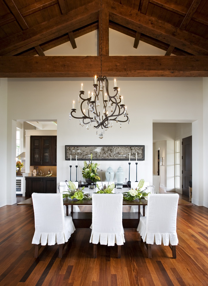 Foyer Chandelier Dining Room Tropical with Candle Centerpiece Chair Chandelier Dinning Table Entry Floor Hardwood Hawaii Kauai Lighting