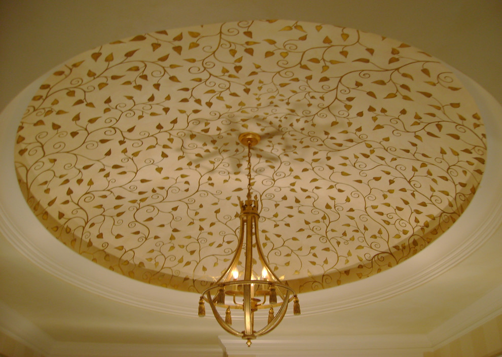 Foyer Chandelier Entry Traditional with Circular Ceiling Delicate Dome Domed Ceiling Gilded Gold Ceiling Gold Chandeleir Gold