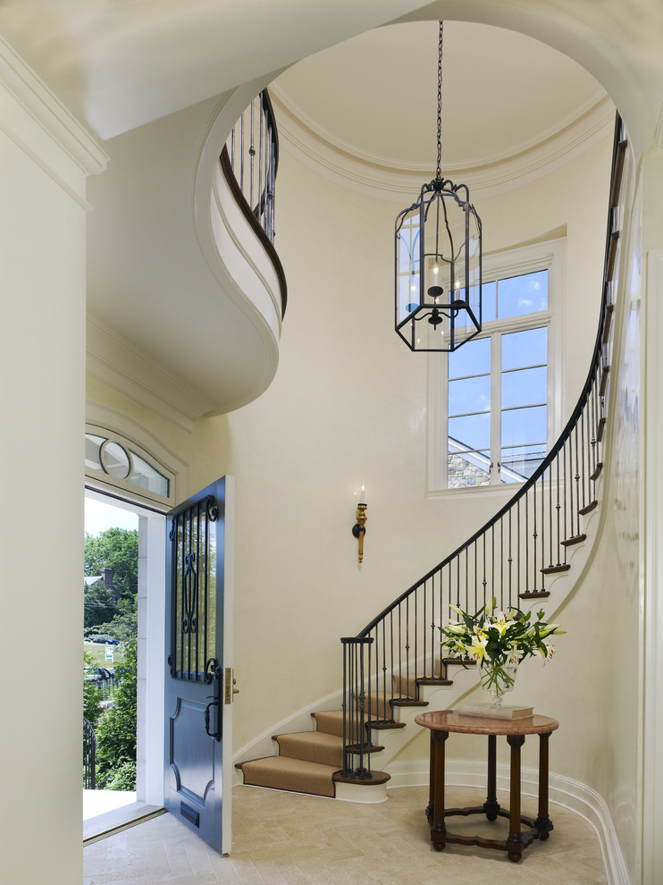 Foyer Lights Entry Mediterranean with Arrangement Cream Curved Stair Entrance Entry Flower French Front Door Front Hall