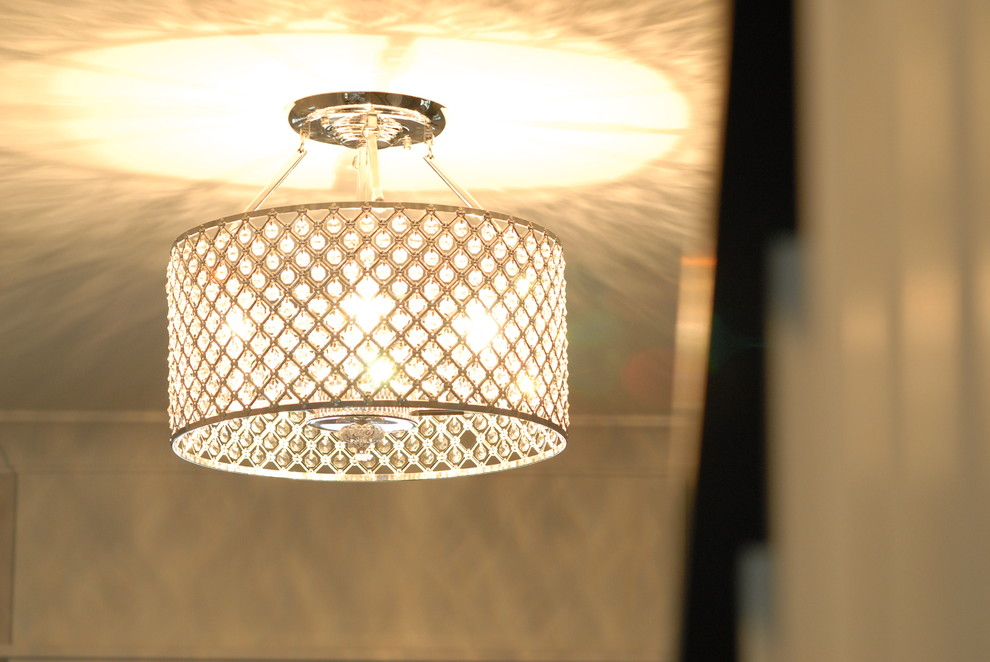 Foyer Lights Entry with Crystal Light Semi Flush Pendant