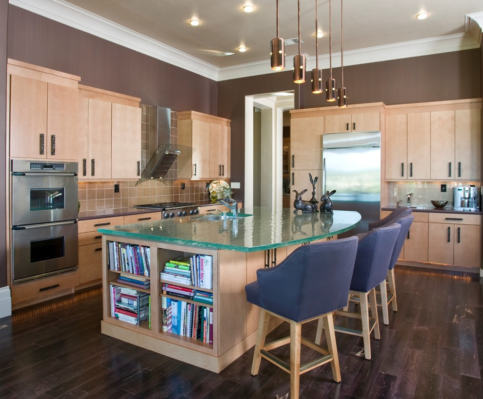 Framburg Lighting Kitchen Contemporary with Ceiling Lighting Crown Molding Dark Floor Double Ovens Kitchen Hardware Kitchen Island