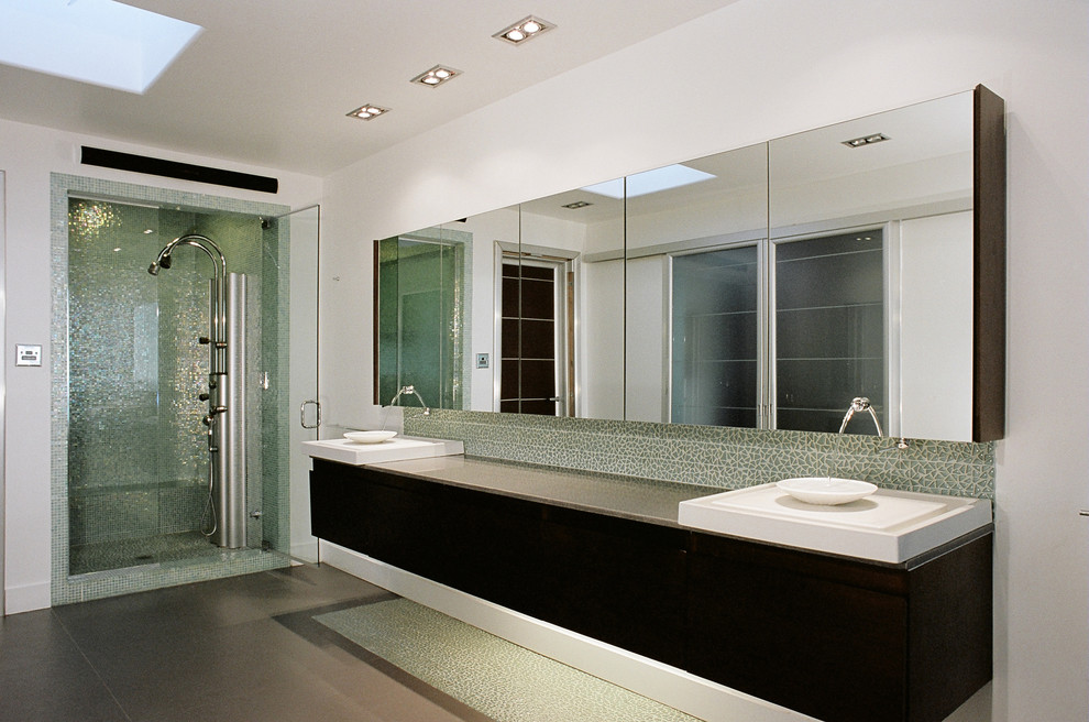 Frameless Mirror Bathroom Contemporary with Above Counter Sink Broken Glass Tile Floating Vanity Glass Tile Gray Floor