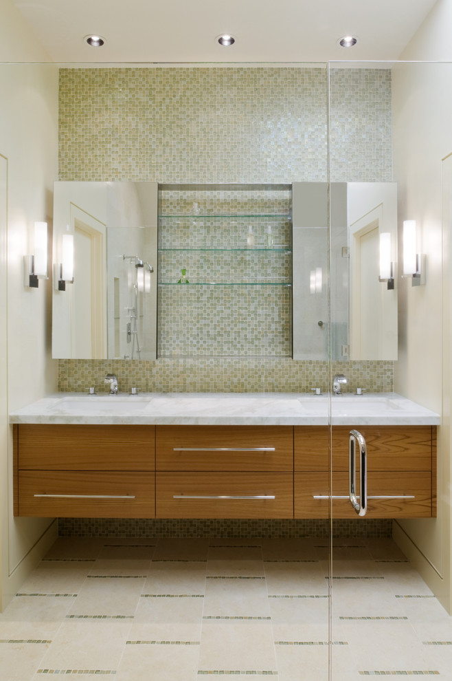 frameless mirror Bathroom Contemporary with ceiling lighting double sinks double vanity floating vanity floor tile design medicine