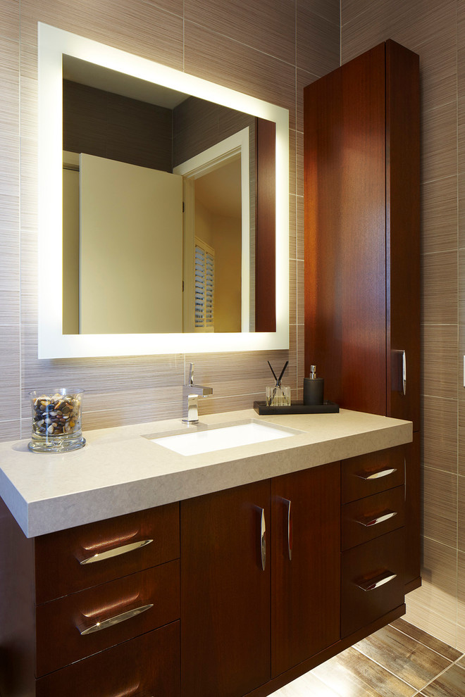 Frameless Mirror Bathroom Contemporary with Floating Vanity Lighted Mirror Rectangular Wall Tile Square Mirror Striated Tile Tall