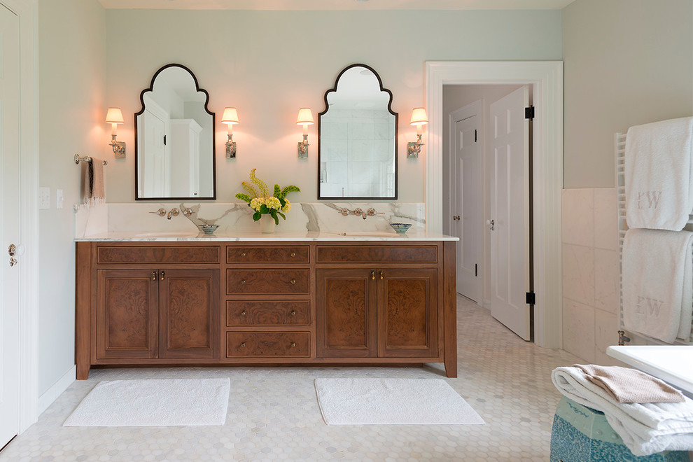 Frameless Mirror Bathroom Traditional with Bath Mats Custom Vanity His and Hers Vanity Large Tiles Marble Countertop