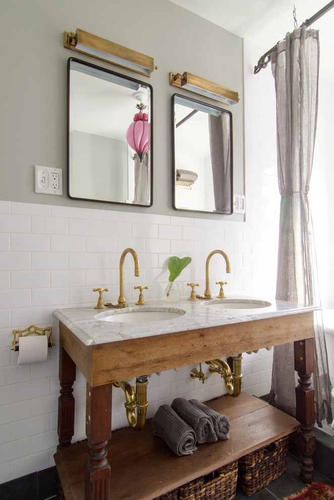 Franklin Brass Bathroom Shabby Chic with Bevelled Glass Mirror Medicine Cabinets Brass Picture Lights Custom Marble Double Sink