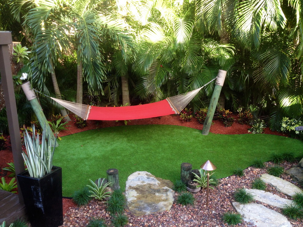 Free Standing Hammock Landscape Tropical with Hammock with Artificial Turf