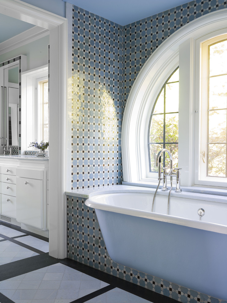 Free Standing Tubs Bathroom Traditional with Alcove Arched Windows Built in Tub Casement Windows Floor Tile Design Mosaic