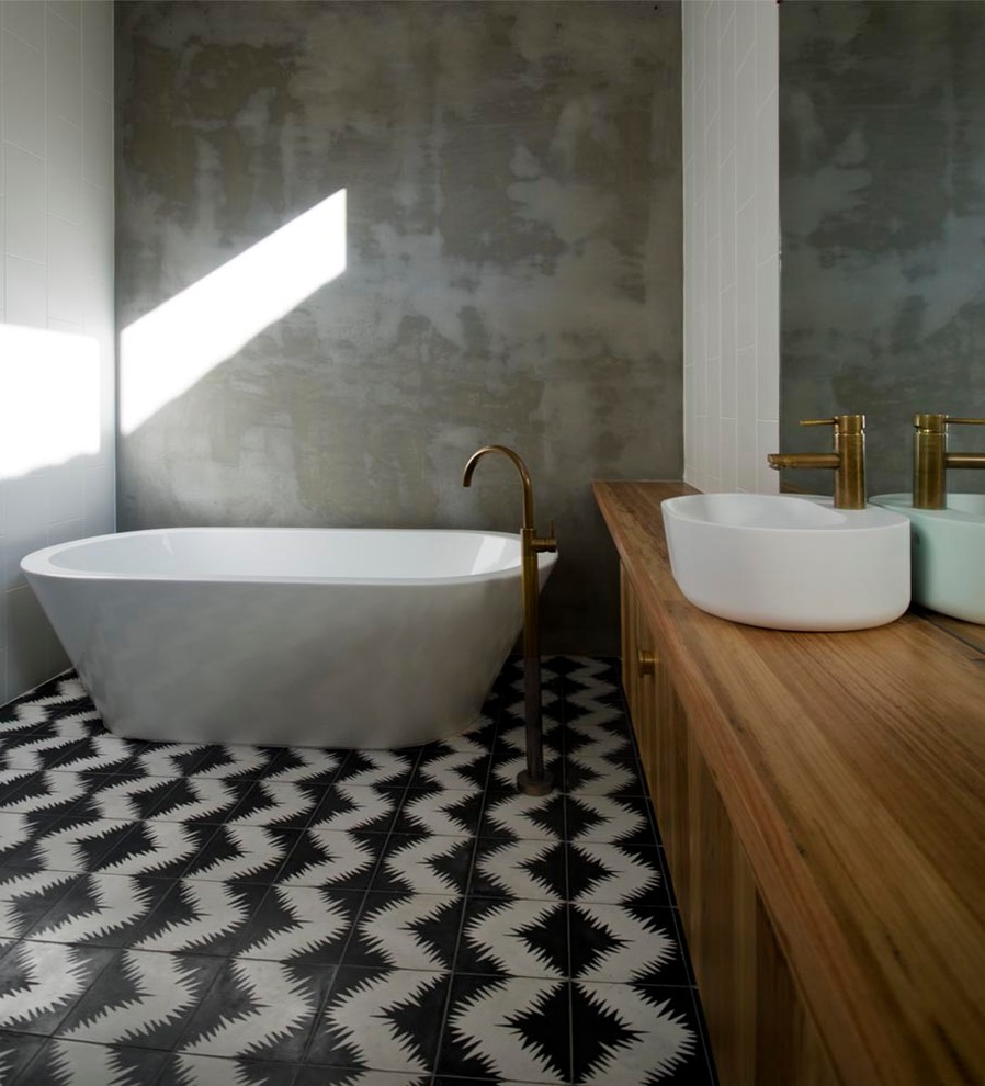 Freestanding Bathtub Bathroom Contemporary with Aged Brass Black and White Floor Tile Black and White Tiles Brass