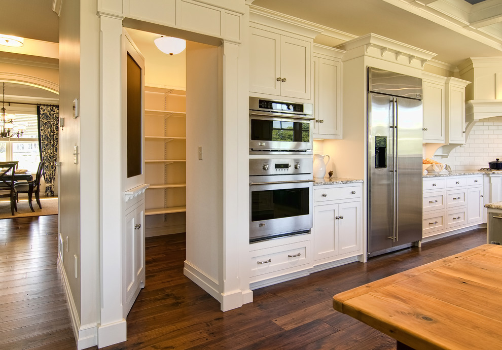 Freestanding Pantry Cabinet Kitchen Traditional with Angled Cook Top Blackboard Chalk Board Chalkboard Coffered Ceiling Counter Tops Crown
