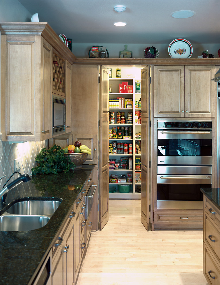 Freestanding Pantry Cabinet Kitchen Traditional with Black Countertop Double Doors Pantry Recessed Lighting Walk in Pantry Wall Ovens Wine