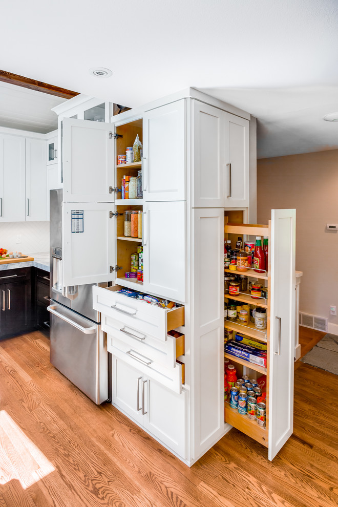 freestanding pantry cabinet Kitchen Transitional with corner storage Custom Cabinetry kitchen organization kitchen storage pull out cabinets slide