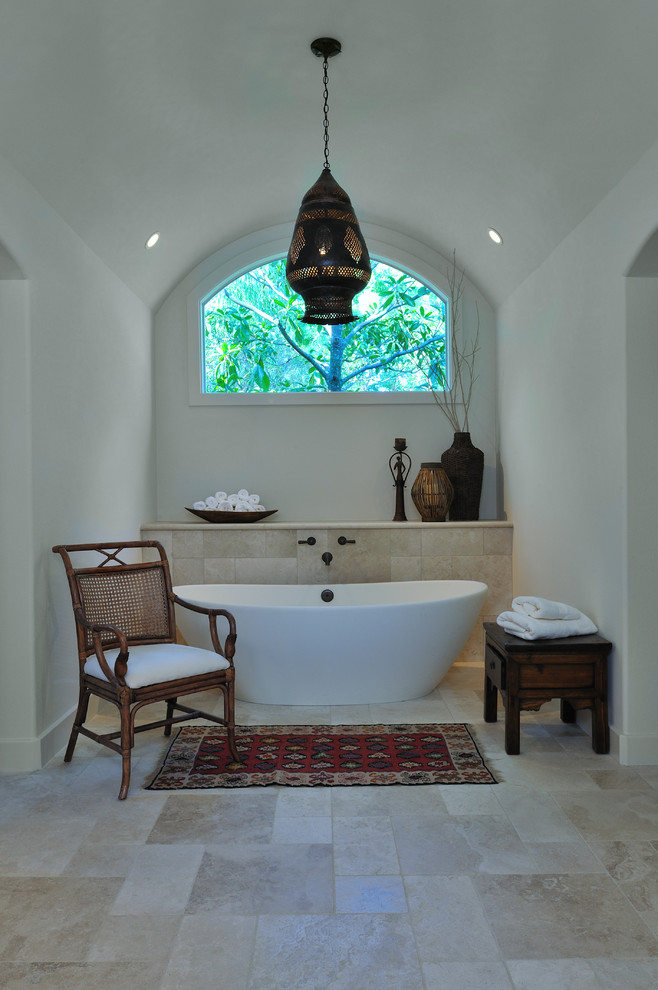 Freestanding Tub Bathroom Mediterranean with Arched Ceiling Bathroom Shelves Ethnic Vibe Free Standing Bathtub Limestone Moroccan Light1