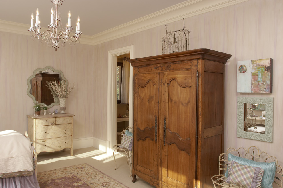 French Armoire Bedroom Traditional with Area Rug Armoire Baseboards Birdcage Chest of Drawers Cream Crown Molding Distressed