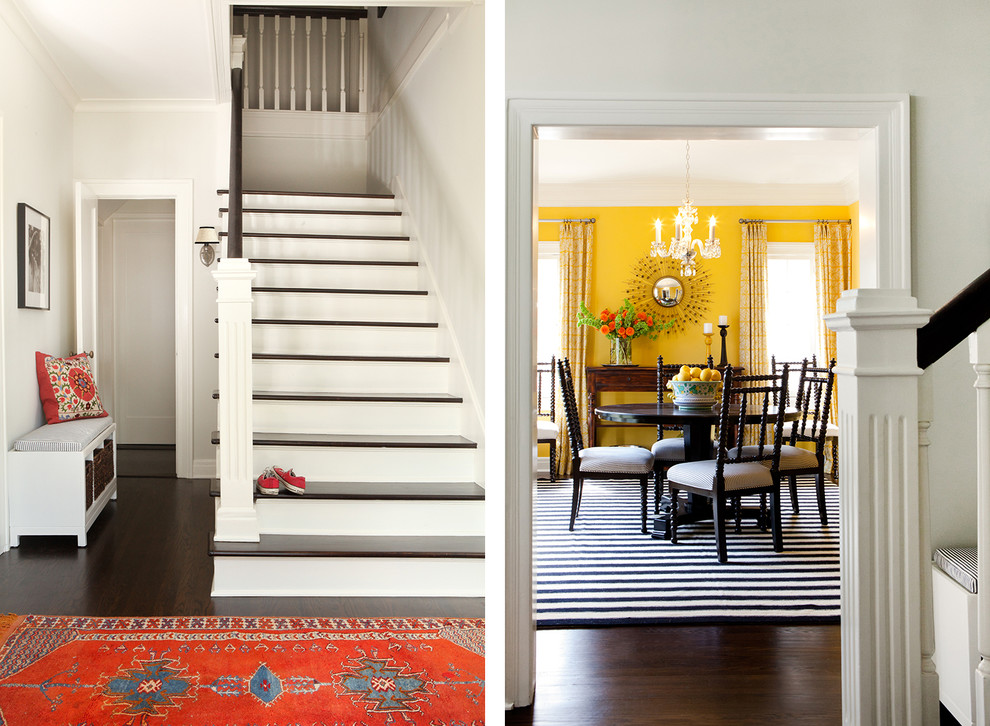 Front Door Wreaths Entry Traditional with Abacus Chairs Black and White Entry Storage Bench Moroccan Rug Yellow Dining