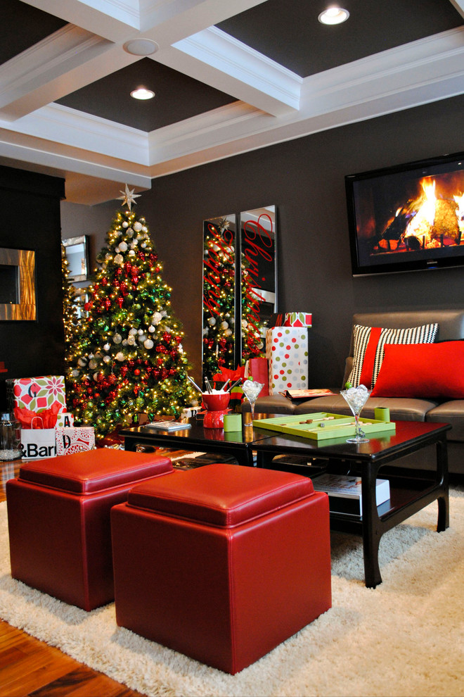 Frosted Christmas Tree Living Room Contemporary with Accent Ceiling Ceiling Lighting Christmas Tree Coffered Ceiling Dark Gray Walls Leather