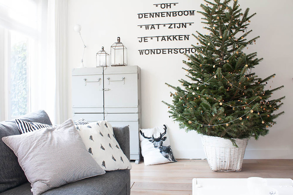 Frosted Christmas Tree Living Room Scandinavian with Christmas Christmas Tree Decorative Pillows Garland Lanterns My Houzz Neutral Colors Throw