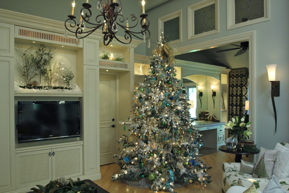 Frosted Christmas Tree Living Room Traditional with Antique Windows Bows Chandelier Christmas Christmas Balls Christmas Decorating Christmas Decorations Christmas