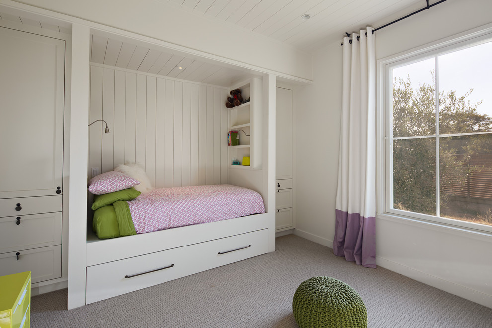 Full Bed with Trundle Kids Farmhouse with Bed Niche Built in Bed Built in Storage Girls Bedroom Kids Bedroom Painted Wood