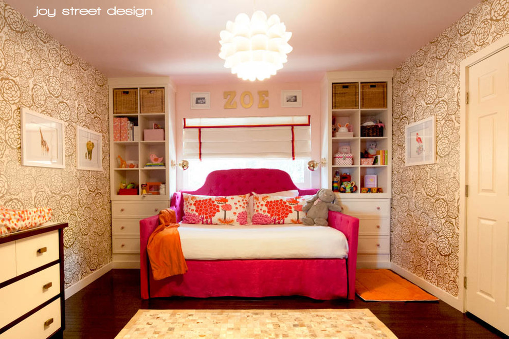 Full Daybed Kids Transitional with Fuchsia Daybed Full Size Daybed Gold Wallpaper Pink and Orange Nursery Pink