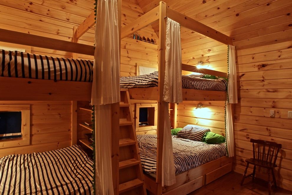 full size bunk bed Bedroom Rustic with bunk beds bunkie cottage guest room Island cottage knotty wood paneling rustic