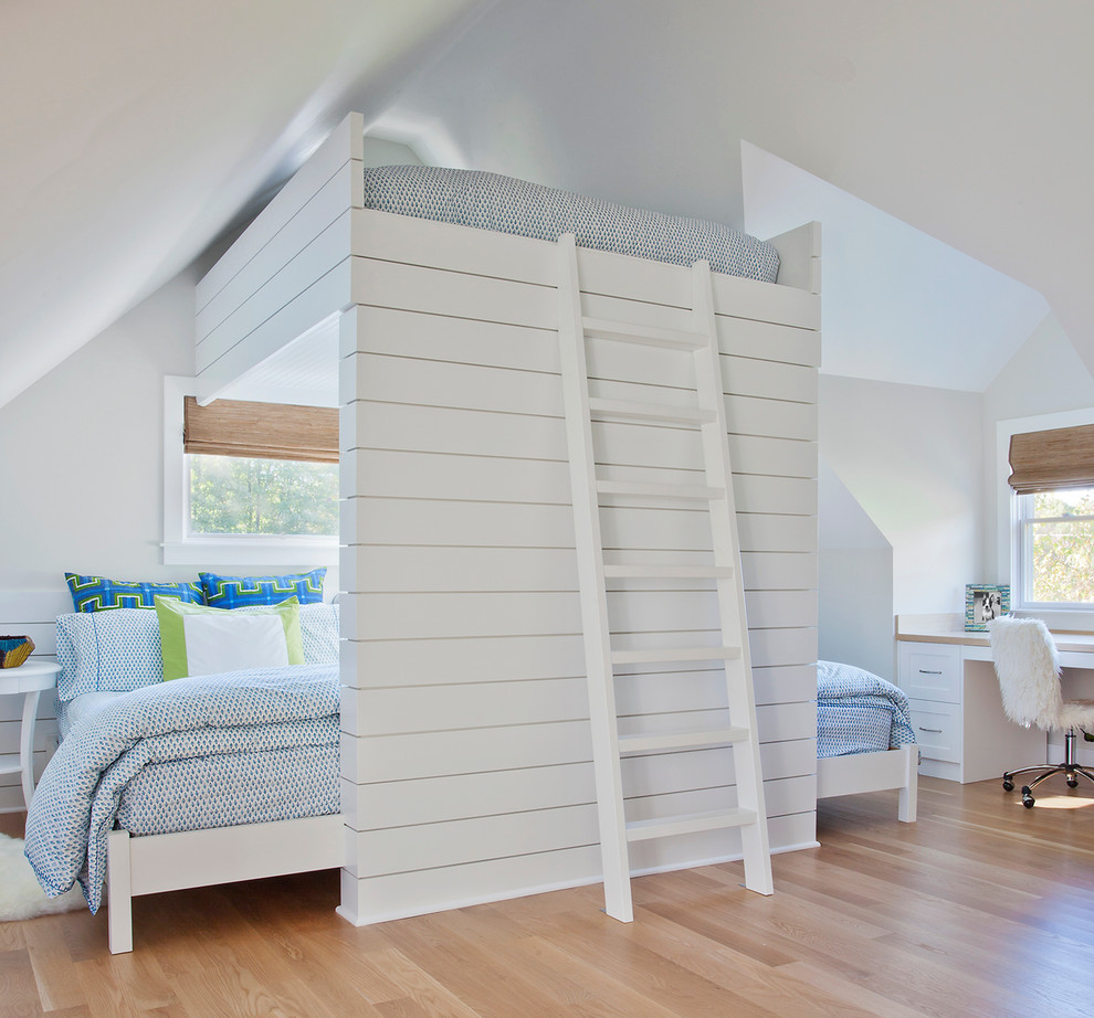 Full Size Bunk Bed Bedroom Traditional with Bamboo Shades Blue and White Blue Bedding Eaves Loftedbed Sleeps Six