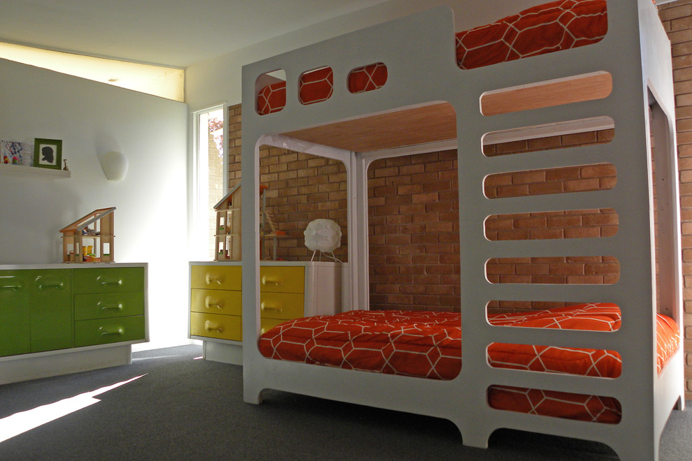 Full Size Bunk Bed Kids Midcentury with 1950s Brick Brick Wall Bunk Beds Doll House Exposed Grey Carpet Lime