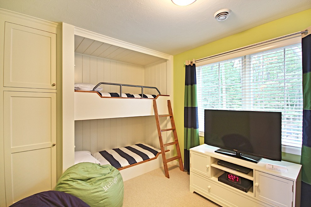 Full Size Bunk Bed Kids Traditional with Accent Wall Beach House Bean Bag Chairs Built in Beds Bunk Beds Cottage