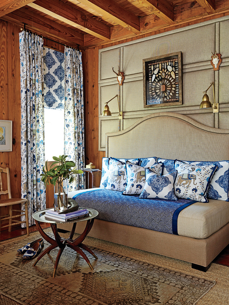 Full Size Daybed Frame Bedroom Traditional with Antlers Area Rug Blue Bedding Collection Curtains Day Bed Drapes Exposed Beams