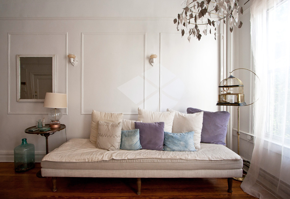 Full Size Daybed Frame Living Room Eclectic with Birdcage Curtains Daybed Decorative Pillows Demijohn Drapes Sconce Throw Pillows Wall Lighting