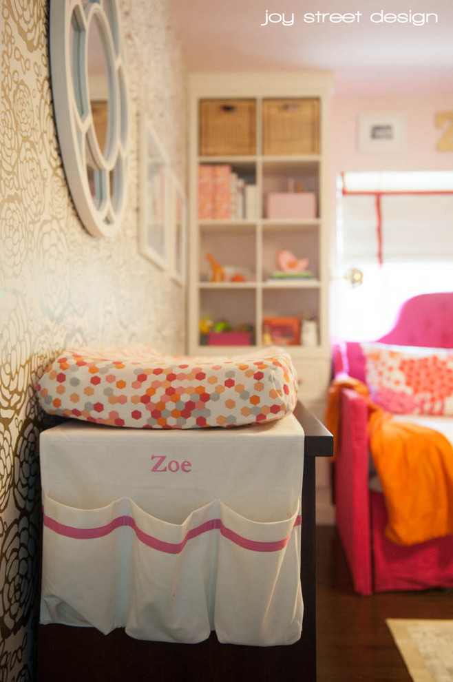 Full Size Daybeds Kids Transitional with Full Size Daybed Fuschia Daybed Gold Wallpaper Pink and Orange Nursery Pink2