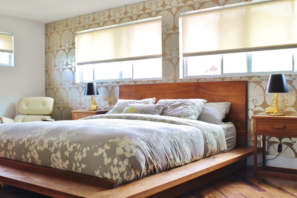 Full Size Platform Bed Frame Bedroom Midcentury with 2 Windows Art Black Lamp Shades Contemporary Eames Gray Floral Bedding Ivory