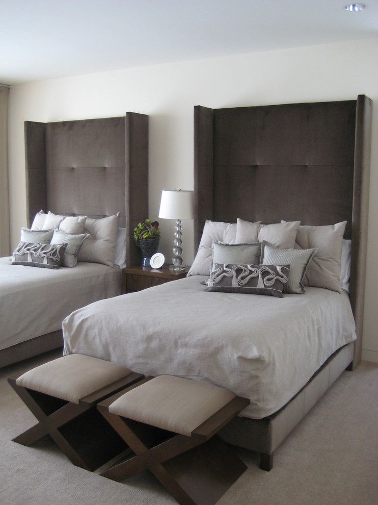 Full Xl Mattress Bedroom Transitional with Bed Carpet Elegant Grey Grey Carpet Grey Headboard Headboard Nightstand Seats Sophisticated