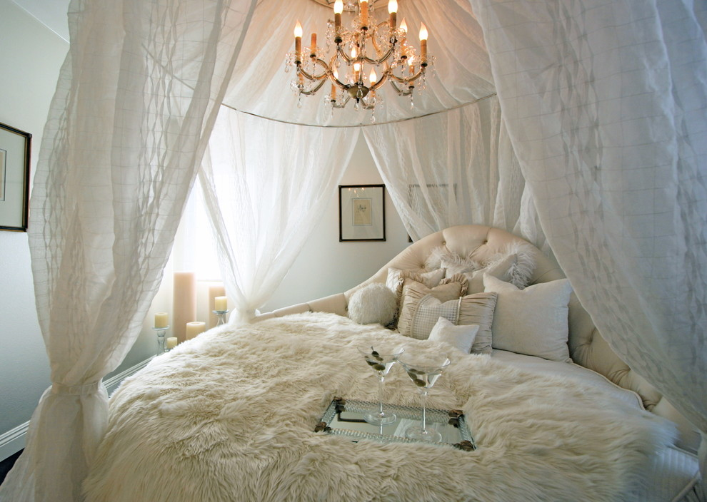 fur throw blanket Bedroom Shabby chic with all white room antique chandelier ASID orange county designer bed drapes candles