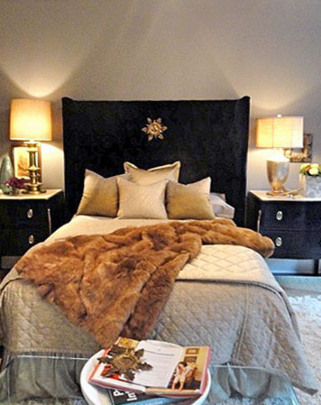 Fur Throw Blanket Spaces Eclectic with Black Headboard Fur Throw Blanket Gold Detail Gold Lamps Grey Bedding Grey