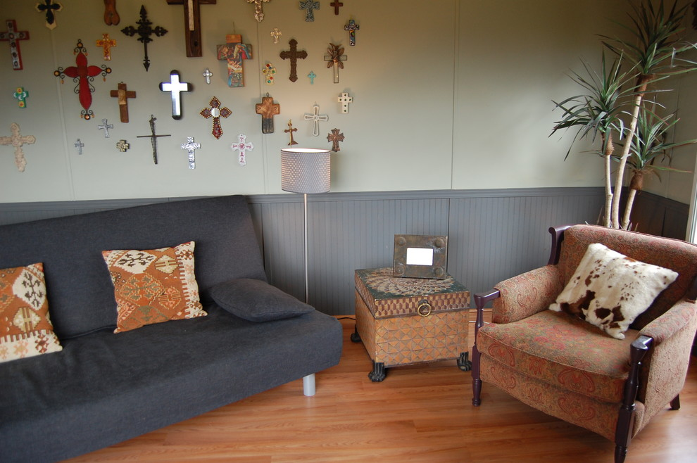 Futon Covers Family Room Eclectic with Charcoal Cow Hide Pillows Crosses Floor Lamp Arm Chair Gray Beadboard Modern