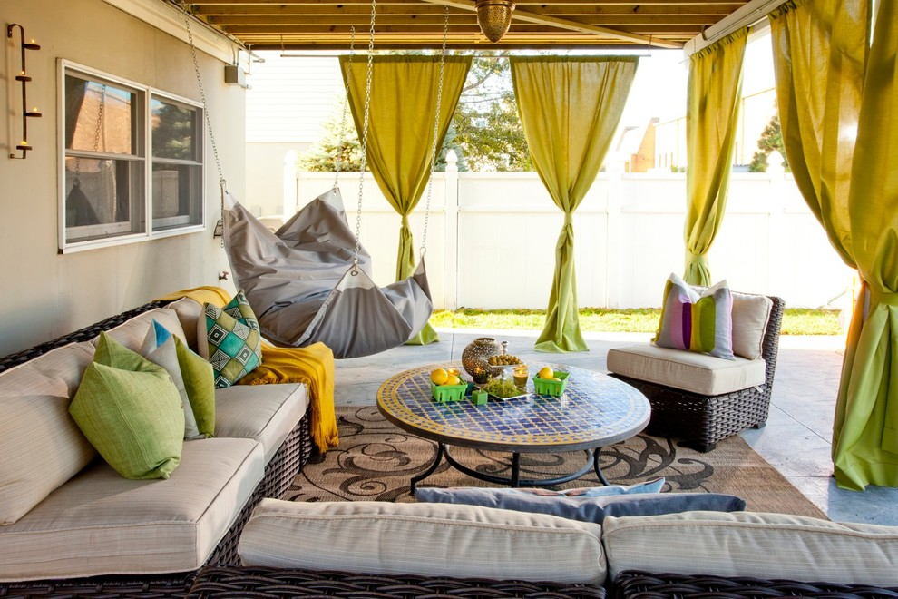 Futon Cushions Patio Eclectic with Backyard Bar Bean Bag Beanock Beige Exterior Beige Outdoor Cushions Beige Patterned