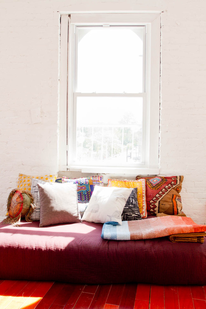 Futon Matress Living Room Eclectic with Brick Wall Day Bed Decorative Pillows Global Prints Loft Painted Brick Red
