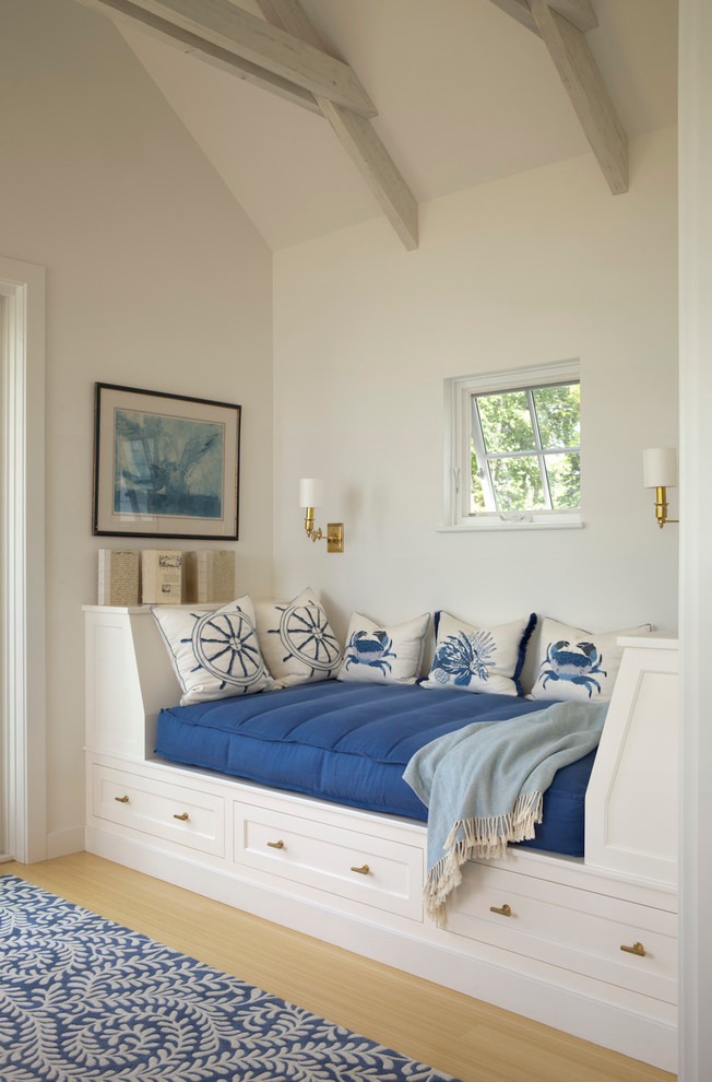 Futon Mattress Family Room Beach with Annie Selke Blue and White Blue Painting Brass Sconce Built in Daybed
