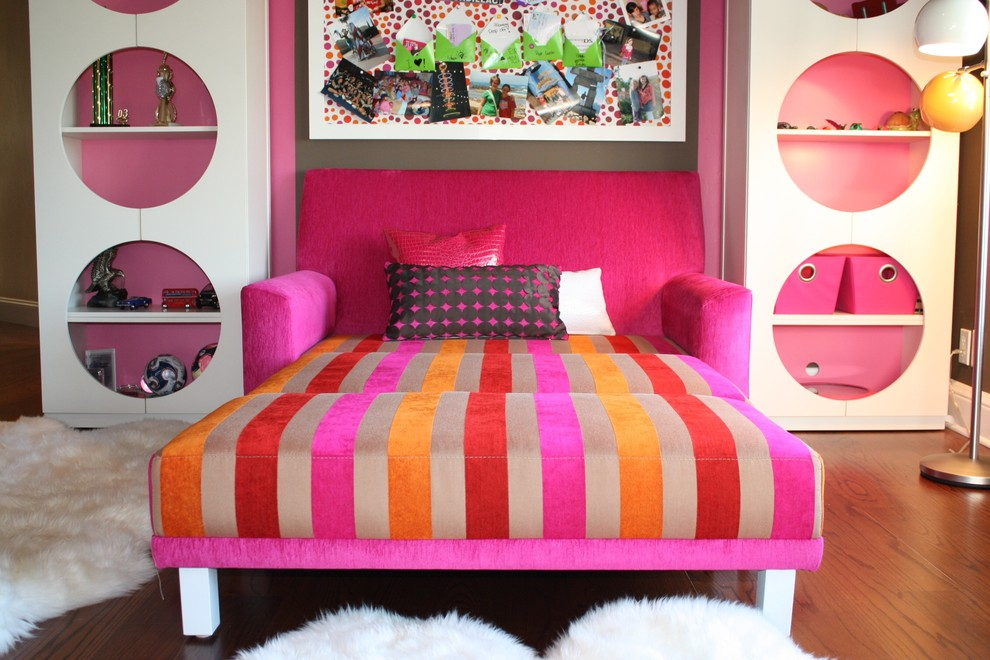 Futon Mattress Cover Kids Eclectic with Area Rug Bold Colors Bookcase Bookshelves Bright Colors Bulletin Board Decorative Pillows
