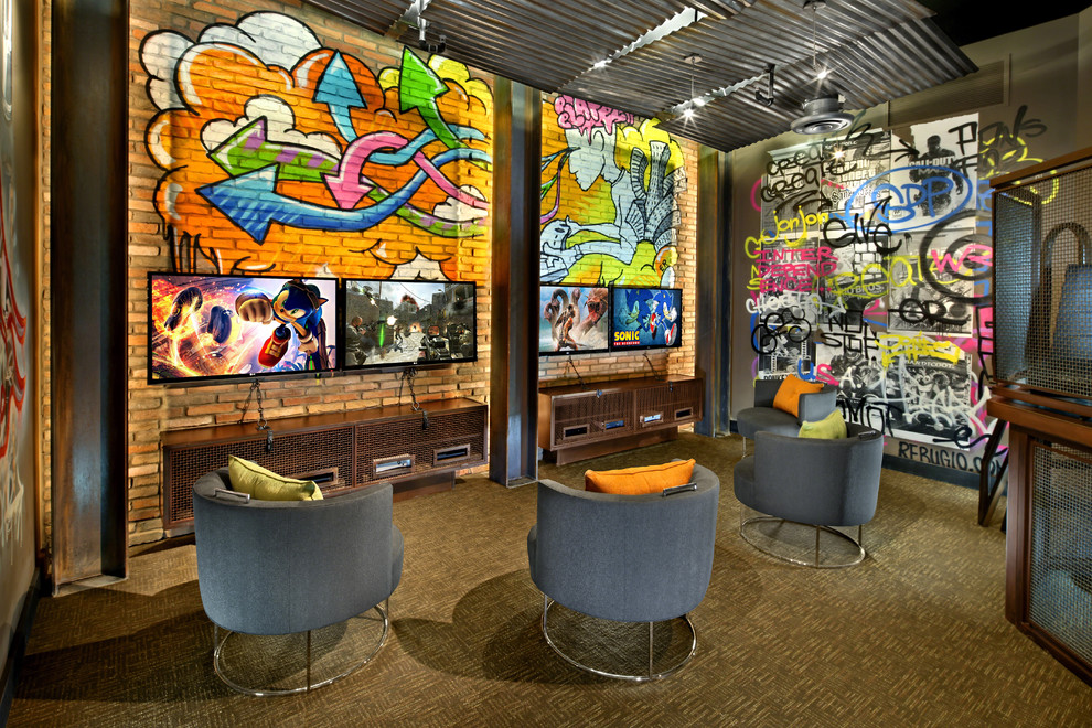 Gamer Chairs Home Theater Contemporary with Art Bright Colors Ceiling Corrugated Metal Ceiling Custom Flatscreen Gaming Room Graffiti