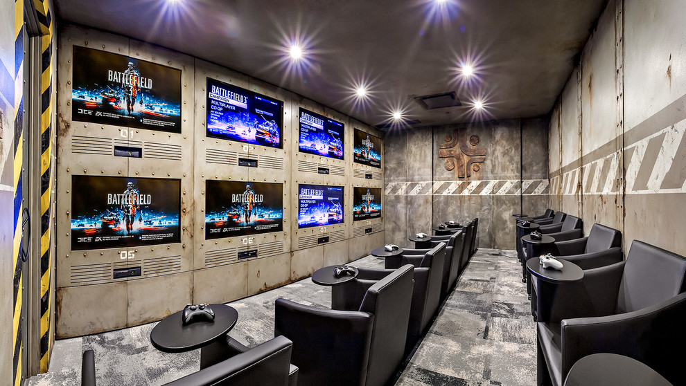 Gamer Chairs Home Theater Industrial with Ceiling Lighting Game Room Games Room Gaming Room Home Theater Industrial Ps3
