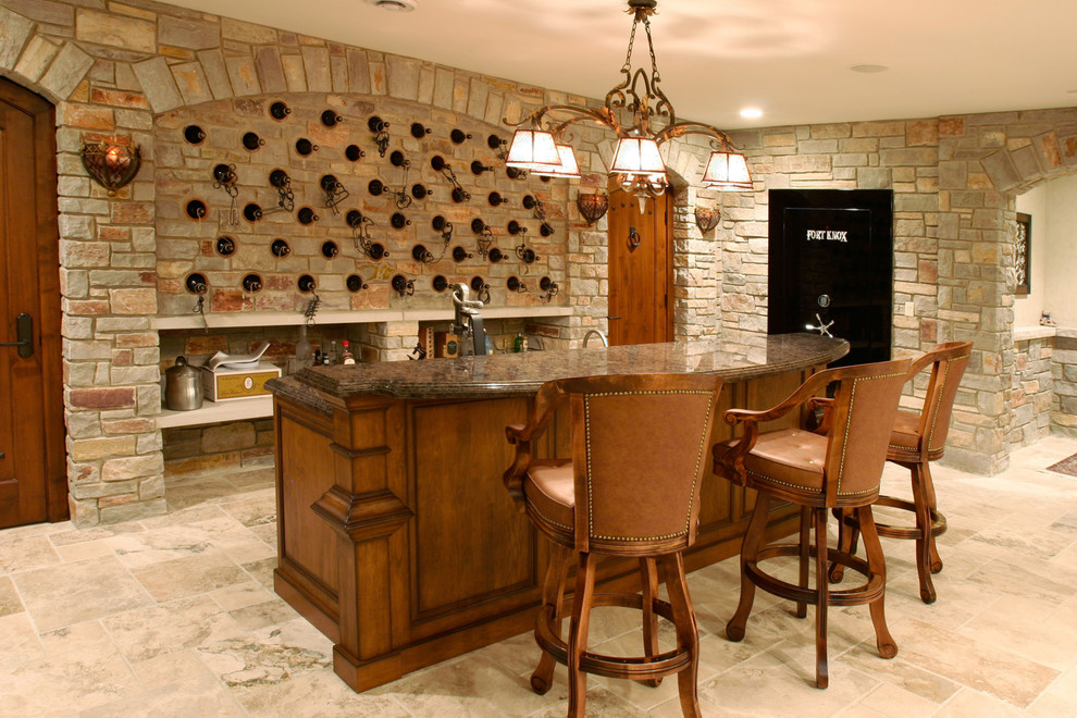 Gardall Safe Home Bar Traditional with Arch Bar Brick Chandelier Frame and Panel Woodwork Granite Counter Home Bar