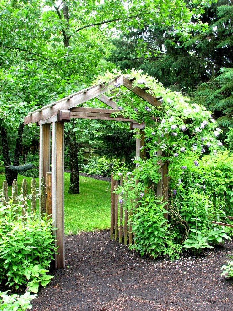 Garden Arbors Landscape Traditional with Arbor Garden Entry Hammock Lawn Mahogony Pergola Picket Fence Weathered Wood Wisteria
